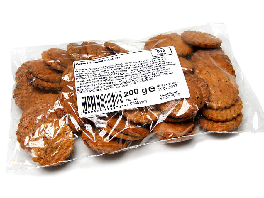 Tomato and red pepper crackers - 200 g