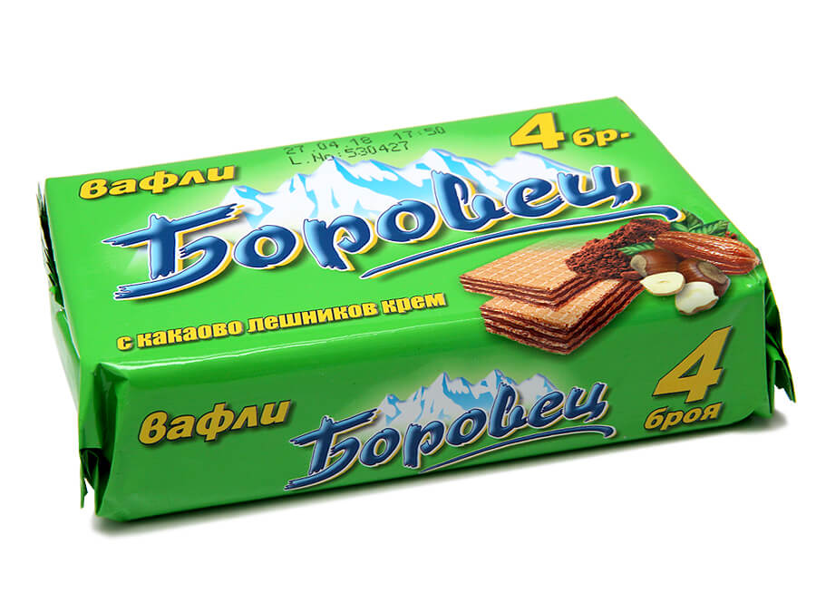 Wafers Borovetz, with cocoa and hazelnut cream, pack of 4